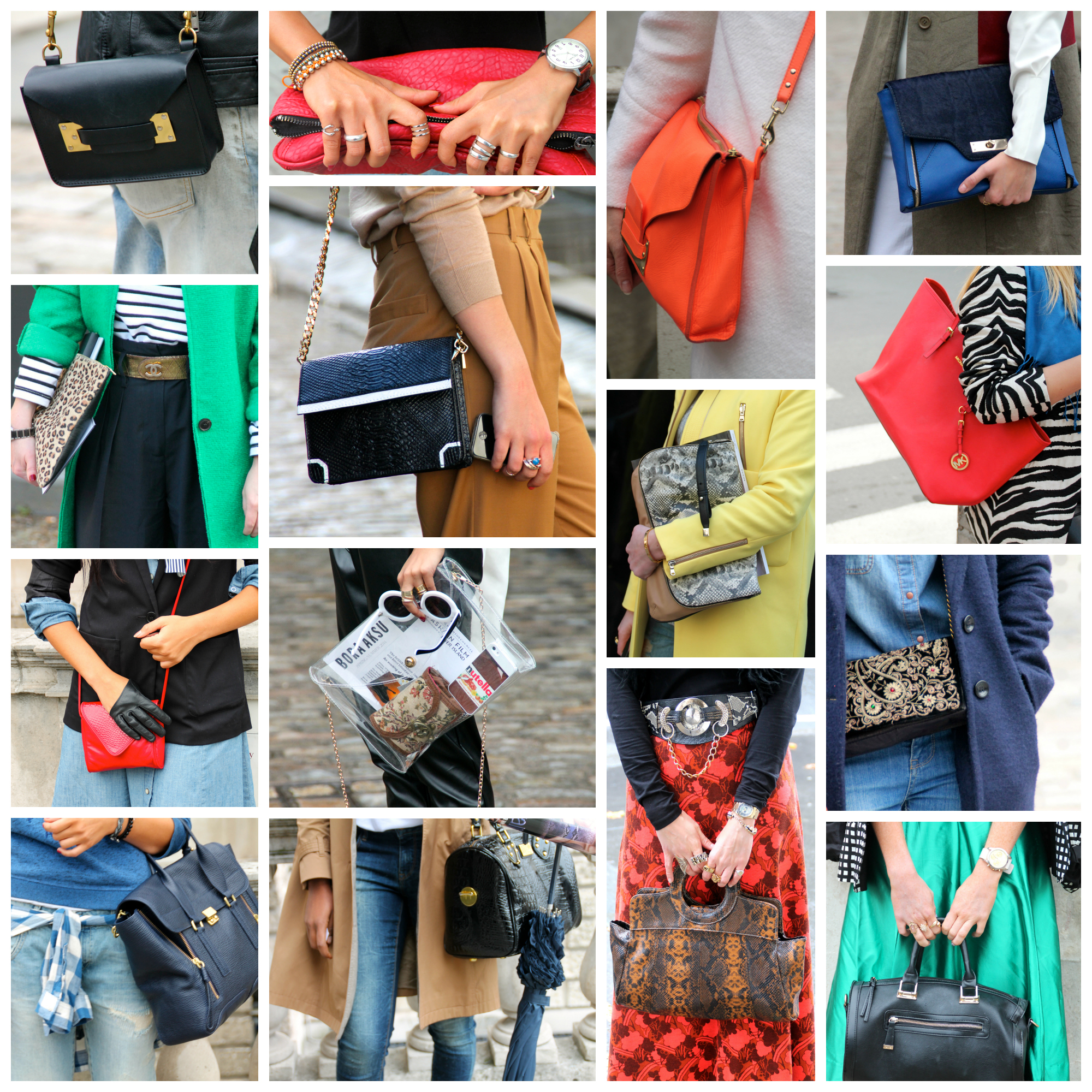 handbags collage